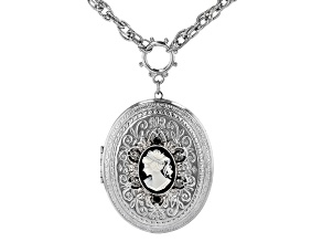 Black & White Resin Silver-Tone Cameo Locket Necklace