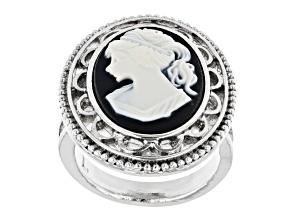 Black & White Resin Silver-Tone Cameo Ring