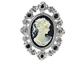 Black & White Resin Silver-Tone Cameo Brooch