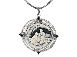 Black & White Resin Silver-Tone Cameo Necklace