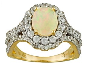 Ethiopian Opal And White Zircon 10k Yellow Gold Ring 2.21ctw