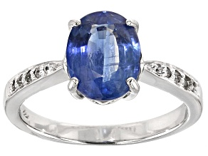 Blue Kyanite 10k White Gold Ring 1.68ctw