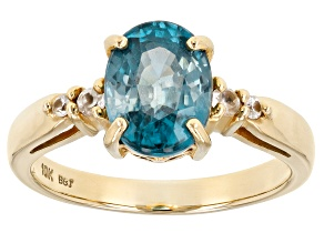 Blue Zircon 10k Yellow Gold Ring. 2.52ctw