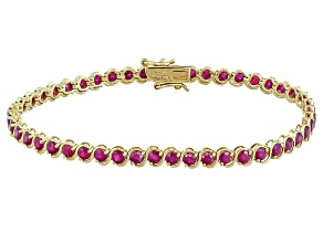 Red Ruby 10k Yellow Gold Line Bracelet 6.12ctw