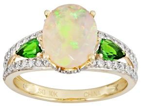 White Ethiopian Opal 10k Yellow Gold Ring 2.15ctw
