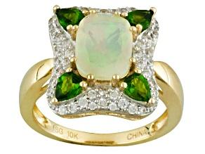 Multicolor Ethiopian Opal 10k Gold Ring. 2.13ctw