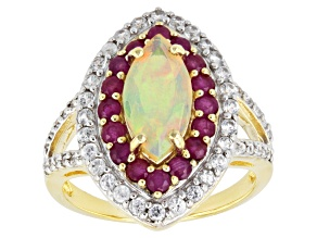 Multicolor Ethiopian Opal 10k Yellow Gold Ring. 2.57ctw