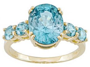 Blue Zircon 14k Yellow Gold Ring 4.35ctw
