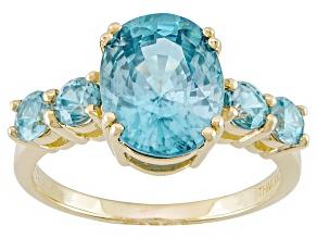 Blue Zircon 14k Yellow Gold Ring 4.35ctw