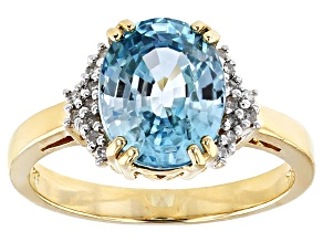 Blue Zircon 14k Yellow Gold Ring 3.65ctw
