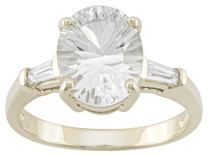 White Danburite And White Zircon 10k Yellow Gold Ring 2.54ctw
