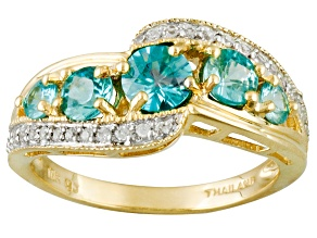 Blue Zircon 10k Yellow Gold Ring 1.86ctw