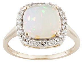 White Ethiopian Opal 10k Yellow Gold Ring 1.55ctw