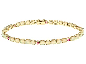 Ethiopian Opal And Pink Spinel 10k Yellow Gold Bracelet 5.66ctw