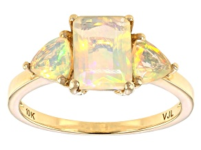 White Ethiopian Opal 10k Yellow Gold Ring 1.20ctw
