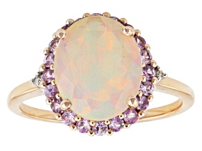 White Ethopion Opal, Pink Sapphire And White Diamond 10k Rose Gold Ring 1.81ctw