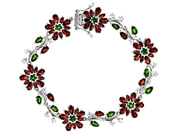Picture of Red Garnet Rhodium Over Sterling Silver Bracelet 13.46ctw