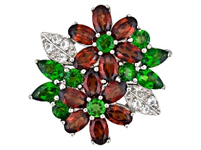 Mozambique Garnet, Russian Chrome Diopside And White Topaz 5.41ctw Sterling Silver Pendant