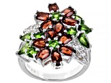Mozambique Garnet, Russian Chrome Diopside And White Topaz 5.41ctw Rhodium Over Silver Ring .5.41ctw