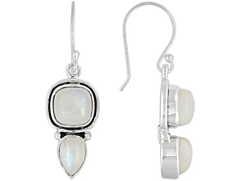 Womens White Rainbow Moonstone Solid Sterling Silver Fish Hook Earrings