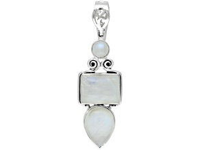 Womens Artistic Pendant/Enhancer Rainbow Moonstone Sterling Silver