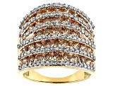 3ctw Genuine Champagne And White Diamond 10k Yellow Gold Multi-Row Ring