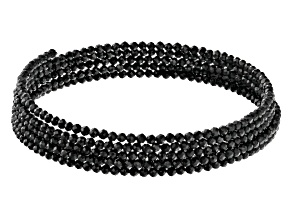 Round Black Spinel Stainless Steel Wrap Bead Bracelet
