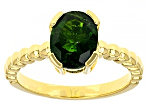 Green Chrome Diopside 18k Yellow Gold Over Sterling Silver Solitaire Ring 1.63ct