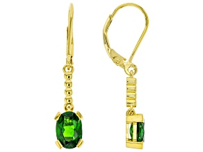 Green Chrome Diopside 18K Yellow Gold Over Sterling Silver Dangle Earrings 2.38ctw