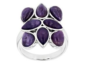 Purple Charoite Rhodium Over Sterling Silver Ring