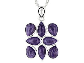 "Purple Charoite Rhodium Over Sterling Silver Pendant With 18""Singapore Chain"