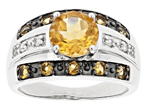 Yellow Citrine Rhodium Over Sterling Silver Ring 1.99ctw