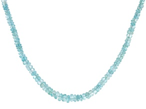 Blue Aquamarine Rhodium Over Sterling Silver Graduated Beaded Necklace