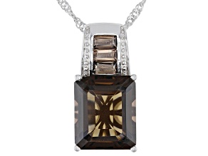 Brown Smoky Quartz Rhodium Over Silver Pendant with Chain 6.33ctw