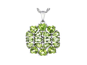 Green Peridot Rhodium Over Sterling Silver Pendant With Chain 5.49ctw