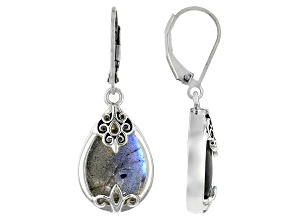 Gray Labradorite Rhodium Over Sterling Silver Dangle Earrings