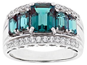 Blue Lab Created Alexandrite Rhodium Over Sterling Silver Ring 3.41ctw