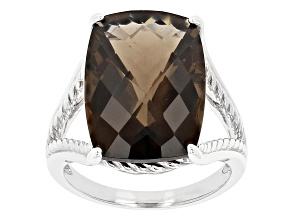 Brown Smoky Quartz Rhodium Over Sterling Silver Solitaire Ring 12.38ct