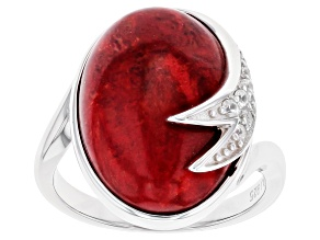 Red Coral Rhodium Over Sterling Silver Ring