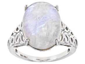 Oval Cabochon Rainbow Moonstone Rhodium Over Sterling Silver Solitaire Ring