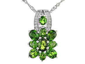 Green Chrome Diopside Rhodium Over Sterling Silver Pendant With Chain 2.67ctw