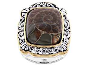 Brown Ammonite Shell Rhodium & 18k Yellow Gold Over Silver Two-Tone Ring