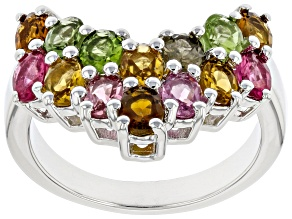 Multicolor Tourmaline Rhodium Over Sterling Silver Chevron Ring 2.38ctw