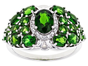 Chrome Diopside Rhodium Over Sterling Silver Ring 2.80ctw