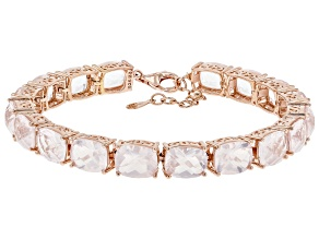 Misty's Holiday Collection Rose Quartz 18k Rose Gold Over Silver Tennis Bracelet
