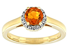 Orange Fire Opal 18k Gold Over Sterling Silver Halo Ring .72ctw