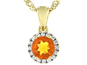 Orange Fire Opal 18k Yellow Gold Over Sterling Silver Pendant with Chain .73ctw