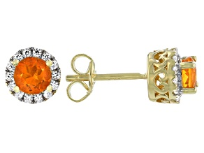 Round Orange Mexican Fire Opal 18k Gold Over Sterling Silver Halo Stud Earrings 1.01ctw