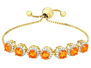 Round Orange Mexican Fire Opal 18k Yellow Gold Over Sterling Silver Bolo Bracelet 3.43ctw