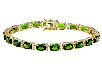 Picture of Green Chrome Diopside 18k Yellow Gold Over Sterling Silver Bracelet 17.88ctw